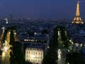 Paris, the Eiffel tower, The Champs Elysees at sunset